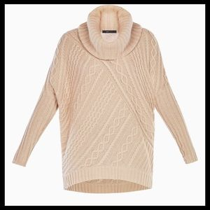 BCBG Linden Cowl-Neck Cable-Knit Pullover